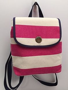 Tommy-Hilfiger-Handbag-Pink-Stripe-Small-Backpack-Shoulder-Purse-New-85