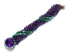 Amethyst, Turquoise, diamond bracelet. Les bijoux Cartier de la Duchesse de Windsor en vente chez Sotheby's | Vogue