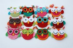 Crochet Owl Appliques Sleepy owls Set of 3 por AnnieDesign en Etsy