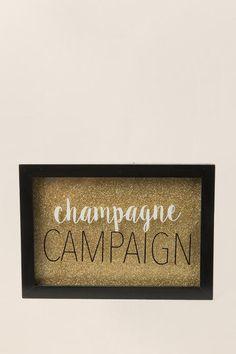Champagne Campaign Glitter Framed Wall Decor-  gift-clalternate2