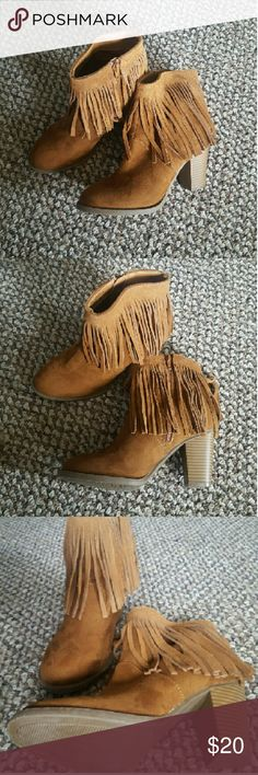 """Faux Suede Fringe Ankle Boots Casual boots that compliment any outfit year round. Pair these with ankle jeans and a warm knit sweater under your favorite trench and create the perfect fall look! Perfect condition.  Heel Height: 3""""   Price is firm. Mossimo Supply Co. Shoes Ankle Boots & Booties"""