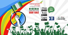 Nigeria Independence Day Seat Sale      Save up to 20%       Ethiopian ✈       #Abuja £412   #Kano £465   #Lagos £385       Special Baggage Allowance 53kgs        ☎ Call us now: 0203 515 9008      💻 Visit: http://www.airafrica.co.uk/       #airafrica #africantravel #travel #flights #ethiopian #flightoffers