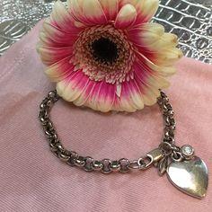 Silver bracelet with heart & rhinestone charm Feminine charm bracelet. You can add more charms or wear as is. Worn twice. Jewelry Bracelets