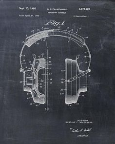 Headphones Patent Print  Patent Art Print  Patent by VisualDesign