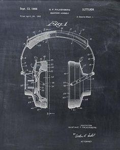Headphones Patent Print  Patent Art Print  Patent by VisualDesign