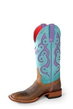 Macie Bean by Anderson Bean Womens Turquoise Leather Cowboy Boots Sea
