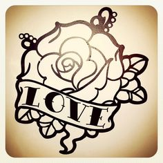 Old School Tattoo Rose Wall Decal