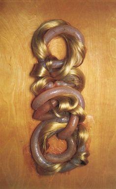 Helen Chadwick ' Loop my Loop ' ; human hair and pig intestine