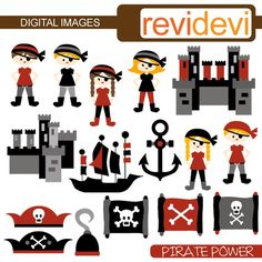 Pirate Power 07260  Cute clipart embellishment  by revidevi, $5.95