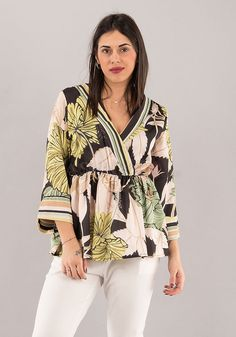 Camicia donna top manica 3/4 collo kimono blusa scollo a v fantasia