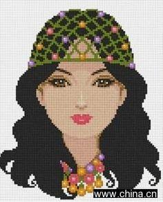 0 point de croix fille au bonnet en crochet - cross stitch crochet cap girl