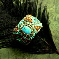 Tamarchi/ Bead embroidery bracelet  Materials: turquoise, czech seed beads, metal base, texti, brocade..  https://www.facebook.com/pages/Tamarchi/100188420078595