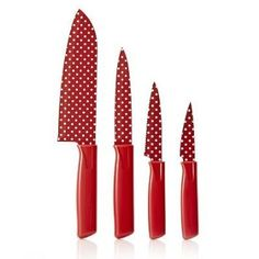 Kuhn Rikon Colori 4 Piece Patterned Knife Set with Protective Covers - Red Polka Dot Design: Amazon.co.uk: Kitchen & Home