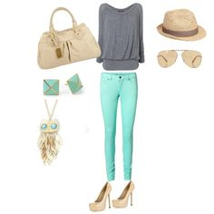 mint green pants outfit