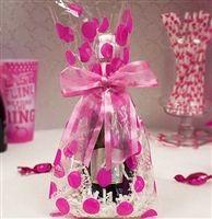 Bachelorette Party DIY Set of 20 Hot Pink Polka Dot Retro Cello Bags Bachelorette Decorations,