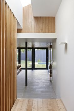 Clerestory window in hallway, reflective white paint to spread light Architecture, Fascinating Modern Home Idea By Melbourne Based AM. Architecture Featuring Interior Design With Wood Paneled And Concrete Wall Plus Hardwood Corridor Floor ~ Beautiful Traditional Design Home to Meet the Recent Modern Style