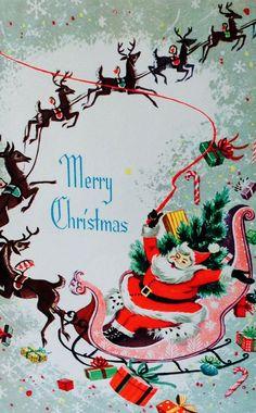 Flying Santa. Vintage Santa & Reindeer. Vintage Merry Christmas. Retro Christmas Card.