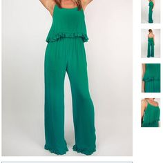 Turquoise jumpsuit Turquoise, for tall people, new with tags, spaghetti strap, Impressions brand, ruffled top Pants Jumpsuits & Rompers