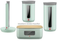 Hailo KitchenLine Design Küchenrollenhalter + Brotkasten eckig + 2 Vorratsdosen mint-matt-stoebern-bieten-kaufen