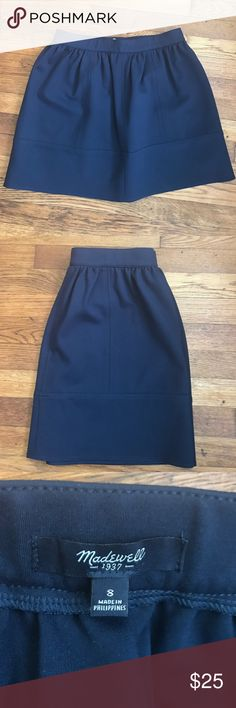 MADEWELL Navy Skirt Like new! The fabric is heavier so this skirt could work as a spring or winter piece. Meant to be worn at the natural waist line. Madewell Skirts