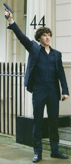 """John: """"Shouldn't we call the police?"""" Sherlock: *fires gun into air* """"On their way"""" John: *rolls his eyes and shakes his head*"""