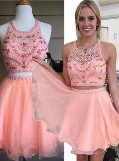 Sweetheart prom dress,Short dress,Saucy Two-piece Crew Pink Homecoming Dresses with Rhinestones Pearls