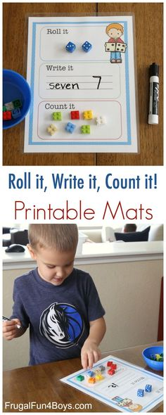 Printable Roll it, Write it, Count it Mats useful for making links with the written number and 1:1 correspondence