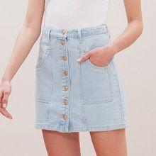 Dossier de la mode Nouvelle D'été de Femmes Taille Haute Slim Single-Breasted Coton Mini A-ligne Moulante Denim Bleu Clair Jupe avec Poches(China (Mainland))