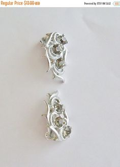 20%OFF Vintage Earrings Smoky Gray Rhinestones SAC signed Silver Tone Clip on Bride Wedding Bridesmaid Holiday Special Occasion Gift