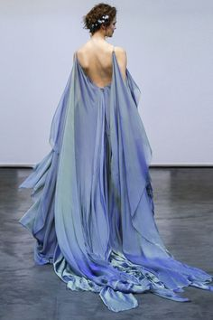 Carol Hannah | Ianassa Gown | Iridescent silk chiffon wave gown in Moray