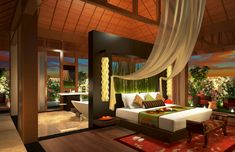 Bon Bali Exotic House Design With Wood Platform Headboard Lamps Canopy Suite