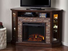 Redden Wall/Corner Electric Fireplace TV Stand in Espresso - FE9392