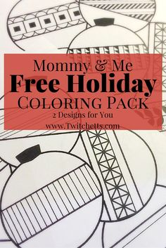 Get your Free Holiday Coloring Pack. This Free Printable download includes a kids coloring page and an adult coloring page.