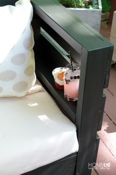 DIY Outdoor Furniture - add a shelf inside the armrest for drinks