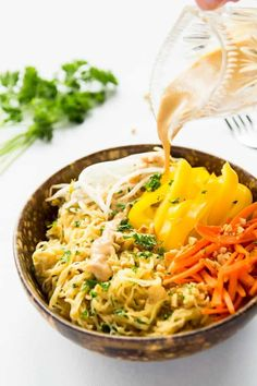 Healthy Thai Spaghetti Squash with delicious peanut sauce makes a great side dish or base for a grain-free Pad Thai recipe. This recipe is gluten-free, vegan, and clean eating. The peanut sauce makes a great dip too. Thai Recipes, Raw Food Recipes, Vegetarian Recipes, Cooking Recipes, Healthy Recipes, Curry Recipes, Vegan Meals, Free Recipes, Zoodle Recipes