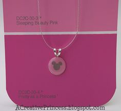 Mickey Mouse Necklace, hole punch, modge podge, self leveling Dimensional Magic, jewelry bale & chain.