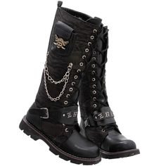 Buy Hot Black Skull Lace up Knee High Emo Punk Rock Fashion Boots Men SKU-1280400