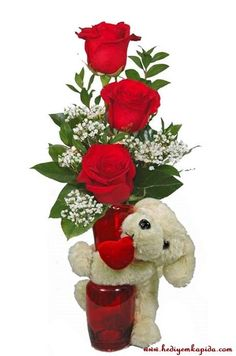 Balıkesi̇r Çiçek - Çiçekler Online - Çiçek Gönder ~ Vazoda 3 Gül ve Peluş Oyuncak