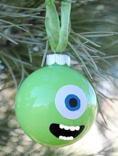 bolas arbol navidad dibujos, monstruos - DIY navidad niños