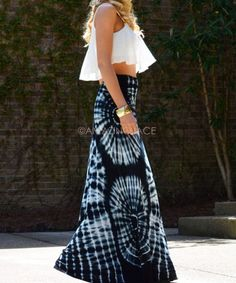 Fashionable Tie Dye Maxi Skirt-  Circle Tie Dye Pattern Technique. To learn more fashion design techniques- find out about our Professional Fashion Design Ebook Here: www.fashion-design-course.com