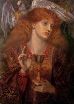 The Grail Maiden (Elaine)  Dante Gabriel Rossetti Oil on canvas, 1874  Elaine of Corbenic was a lover of Lancelot and mother of Galahad.