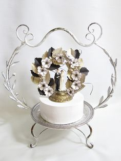 Handmade Black, Gold, and White Wedding Cake Topper. Love traditional touches.