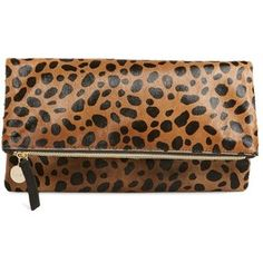 Women s Clare V. Genuine Calf Hair Leopard Print Foldover Cl... - Polyvore df0557328d