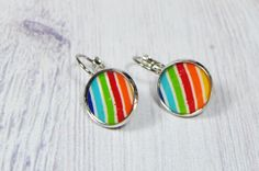 Rainbow colors polymer clay design silver plated drop by NuritNaor, $17.00