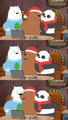 Celebrate Christmas with we bare bares wallpaper Bear Wallpaper, Kawaii Wallpaper, Wallpaper Iphone Cute, Galaxy Wallpaper, Disney Wallpaper, Ice Bear We Bare Bears, We Bear, Foto Cartoon, We Bare Bears Wallpapers