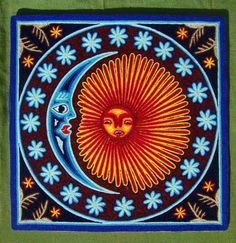 Mexican 12 x 12 Huichol Yarn Moon and Sun painting by by Aramara, $48.00
