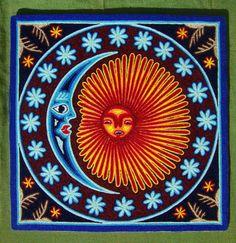 Mexican 12 x 12 Huichol Yarn Moon and Sun painting by by Aramara, $48.00