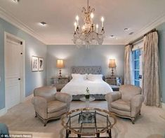 Tori Spelling's Bedroom - A grey-blue palette gives a subdued yet elegant look in Tori Spelling's bedroom