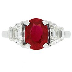 Oval w/ Trapazoid Sides -- Natural Pigeon Blood Burmese Ruby And Diamond Ring | From a unique collection of vintage engagement rings at http://www.1stdibs.com/jewelry/rings/engagement-rings/