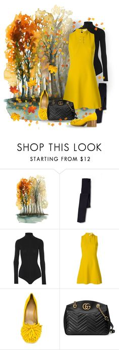 """""""October Dress"""" by bb60477 ❤ liked on Polyvore featuring Theory, Versace, Ports 1961 and Gucci"""